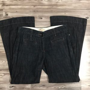 CAbi dark denim bell leg trouser style pant size 6